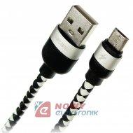 Kabel USB-Micro 3m WESDAR czarno biały - High Quality