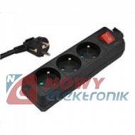 Przedłużacz 3gn 3m KEMOT siec. 3x1,5mm czarny z wył.