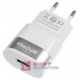 Ładowarka USB siec. 2.4A   Slim 1xUSB 100-240V zasil. NEPOWER