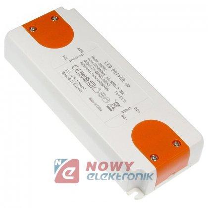 Zasilacz ZI LED prąd. 350mA 24W 36-68V plastik CC Driver