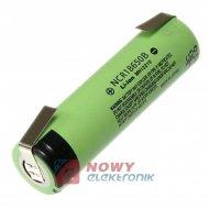 Akumulator do pak.NCR18650 3,4Ah 3,7V z blaszkami LI-ION 3400mAh 64x18
