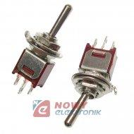 Przełącznik SW-TSM1022A13 submin czerwony,jednobiegowy On-OFF-On TSM102A2