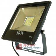 Halogen LED 30W BLACK WW płaski ciepły biały reflektor/naświetlacz