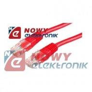 Kabel LAN kat.6 UTP 3m czerwony