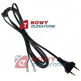 Kabel zasil. sieciowy 2m 2x0.75 z odgiętką