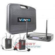 Mikrofon bezprzew. UHF WM73H Vonyx dwukanałowy 2 mikr.nagł.