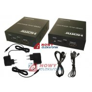 Przedłużacz HDMI/RJ45 Ext.100m  z przedł. pilota Extender cat5/6