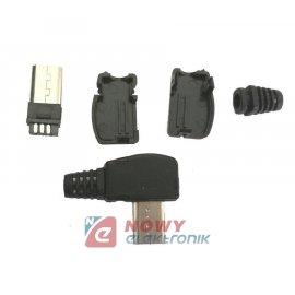 Wtyk micro USB-B  kątowy na kab.