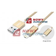Kabel USB Premium HYBRID UNITEK microUSB/Lightning Gold smartphon/iPhone