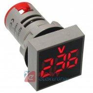 Kontrolka LED Voltomierz czerwon 22mm 20-500VAC kwadrat miernik napięcia