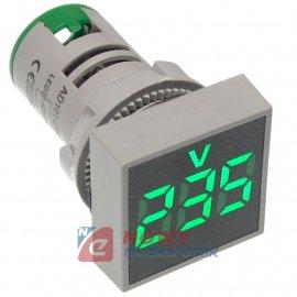 Kontrolka LED Voltomierz zielony 22mm 20-500VAC kwadrat miernik napięcia