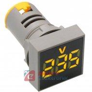 Kontrolka LED Voltomierz żółty 22mm 20-500VAC kwadrat miernik napięcia