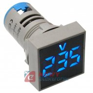 Kontrolka LED Voltomierz niebies 22mm 20-500VAC kwadrat miernik napięcia