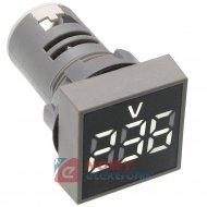 Kontrolka LED Voltomierz biały 22mm 20-500VAC kwadrat miernik napięcia