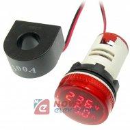 Kontrolka LED Volt+Amper. czerwo 22mm min.0,6A 150W, 20-500VAC miernik