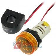 Kontrolka LED Volt+Amper. żółty 22mm min.0,6A 150W, 20-500VAC miernik