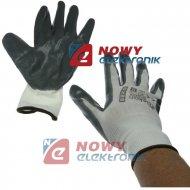 Rękawice ochronne GEKON r.9 biało-szare lub czarne