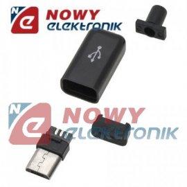 Wtyk micro USB-B   montowany na kabel (mikro USB)