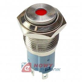 Przycisk metal. JH16-09 czerwony monostabilny podświetlany chwilowy