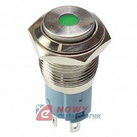 Przycisk metal. JH16-09 zielony monostabilny podświetlany chwilowy