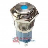 Przycisk metal. JH16-09 niebiesk monostabilny podświetlany niebieskie