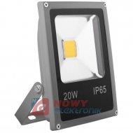 Halogen LED 20W szary SLIM 6000K COB 1400lm Biały zimny