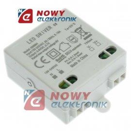Zasilacz ZI LED prąd. 700mA 6W 3-8V plastik CC Driver