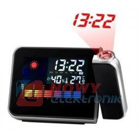 Budzik z projektorem /stacja pog /termometr/zegar/budzik
