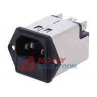 Gniazdo IEC60320 zasil.z bezp. filtr  10A 250VAC komp.C14