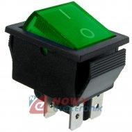 Przeł.podśw.duży AC zielony ON-OFF 230V/15A 2-torowy