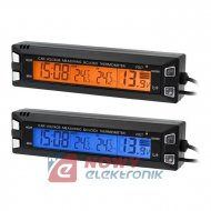 Termometr samoch.+zegar+voltom. 3w1 (wskaźnik napięcia)