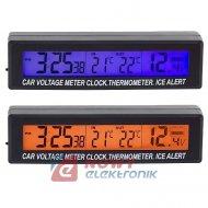 Termometr samoch.+zegar+voltom.A 3w1 (wskaźnik napięcia)