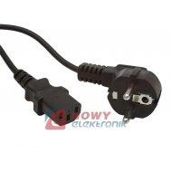 Kabel zasil. PC 3m komput.3x1mm2 czarny PVC CEE7/7 16A
