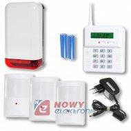 Zestaw alarmowy CB32GZ + 3 czuj + sygnalizator bezprzewodowy ELMES.