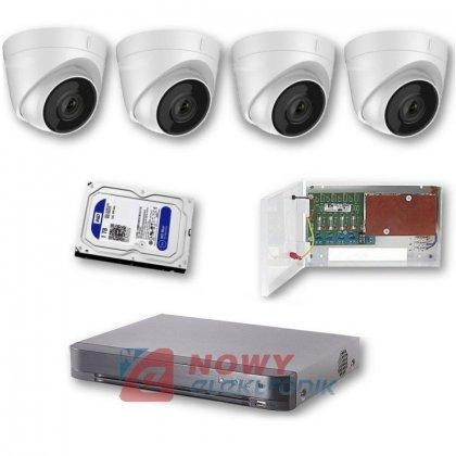 Zestaw monitoringu 4 kamery5MPX Rejestrator 4MPX, HDD 1TB. Zasilacz zb.