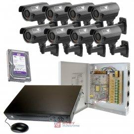 Zestaw monitoringu 8 kamer 720P Rejestrator , HDD 1TB. Zasilacz zbiorczy