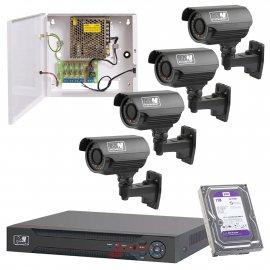 Zestaw monitoringu 4 kamery720P Rejestrator , HDD 1TB. Zasilacz zbiorczy