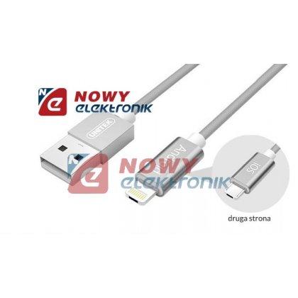 Kabel USB Mobile HYBRID UNITEK  microUSB/Lightning Grey Smartphon/iPhone