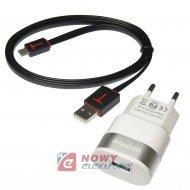 Ładowarka USB 2.4A Slim Zestaw z kablem mikro USB NEPOWER Zasilacz 230V