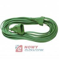 Przedłużacz płaski 1gn 1,5m ziel sieciowy