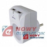 Ładowarka USB siec. 2xUSB GU407 1A+gn.elektr. 230V zasilacz         ORNO