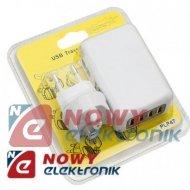 Ładowarka USBx4 sieciowa5V 2,1A zasilacz USB