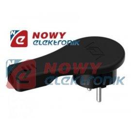Wtyk Siec. przyścienny płaski cz czarny z uziemieniem  16A