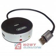 Karta dźwiękowa na USB + HUB 3x wzmacniacz USB UNITEK Y-2197 muzyczna