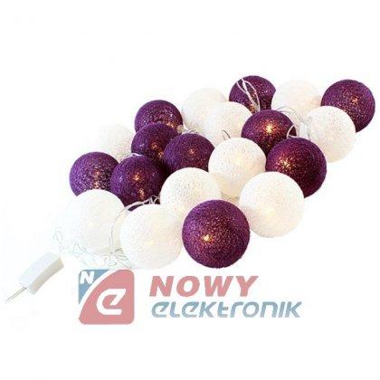 Lampki ozdobne GIRLANDA COTTON BALLS 20kull fioletowe