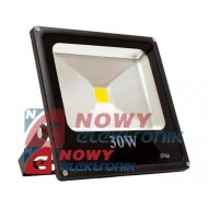 Halogen LED 30W BLACK CW płaski biały zimny  reflektor/naświetlacz