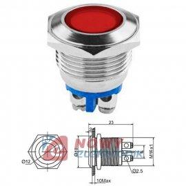 Kontrolka LED 18mm 12V czerwona metal