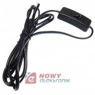 Kabel zasil. 2,2m z wyłącznikiem czarny 2x0,75mm2  2A/250V