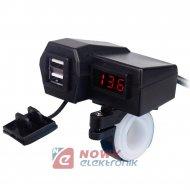 Ładowarka USB 12-24V /5V 3.1A RED +VOLT. NA KIEROWNICE