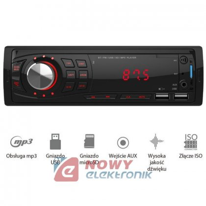 Radio samoch.VORDON AC-1101U   Nelson, RED  USB/microSD/AUX